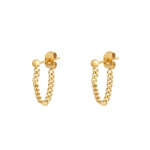 Stud earrings with chain dot gold