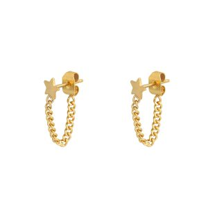 Stud earrings with chain star gold