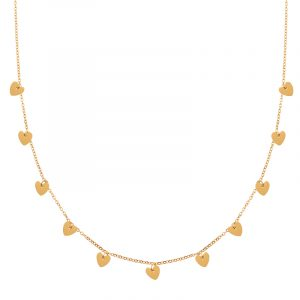 Necklace a lot of hearts gold