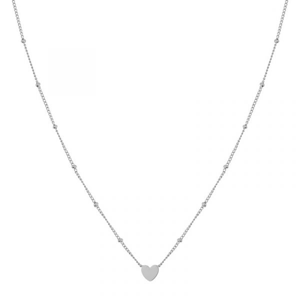 Necklace closed heart silver