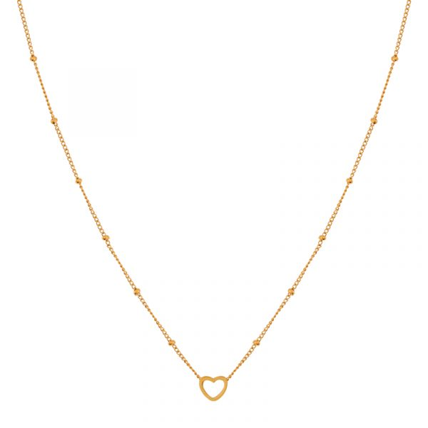 Necklace open heart gold